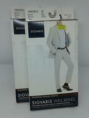 2 - Sigvaris 189CB11 Business Casual Socks Size B Color Brown 15-20 mmHg