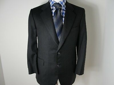 Paul Stuart  Black Shadow Stripe Wool 2 Btn Dual Vent Flat Pants Suit Sz-42s/W38