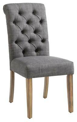 Fabric Button Tufted Side Chair in Gray - Set of 2 [ID 3788169]