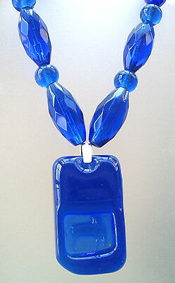Necklace of 1960's Kosta Boda Glass Pendant with Blue Venetian Faceted Beads
