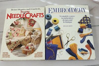 Lot of 2 How To Books Embroidery Needlepoint Crochet Information Guides Sewing