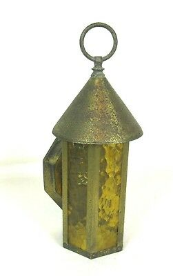 Vtg Electric Gothic Sconce Light Colonial w Glass Globe & Lantern Lamp cover