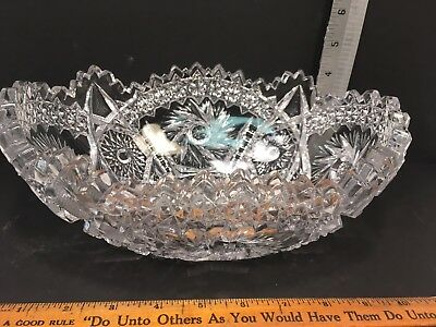 "PRESSED GLASS FRUIT BOWL 10"" LONG heavy glass Marked ""ARTCUT"""