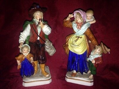 Sitzendorf Dresden Porcelain Polychrome Figurine Pair Man Woman Children Baby