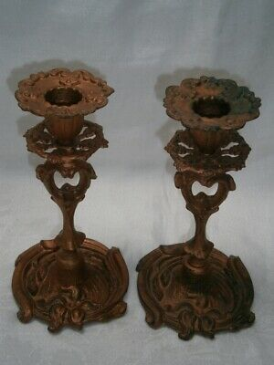 Antique Collectable Art Nouveau Gilt Bronze Candle Holders - Floral Design