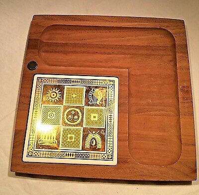 Georges Briard Signed Wood Ceramic Tile Cheese Appetizer Server Board MCM