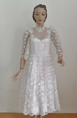 Vintage 1970s White and Pink Calf Length Wedding Dress by The House Of Jean Fox