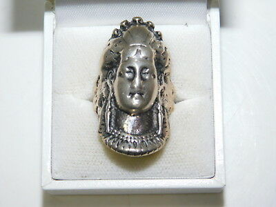 Sterling Silver Ethnic Tribal Native Head Headdress Huge size 6.5 ring  9i 14