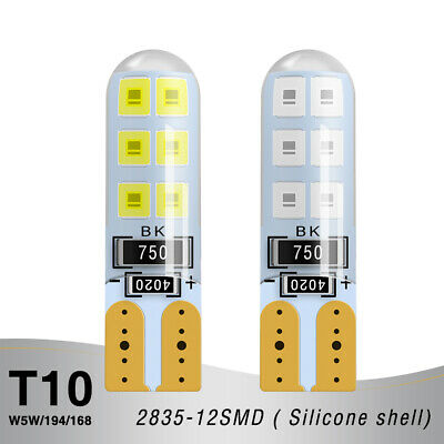 Car LED T10 Light W5W 2835-12SMD Signal Silicone Shell Number Plate Lamp 3.6W