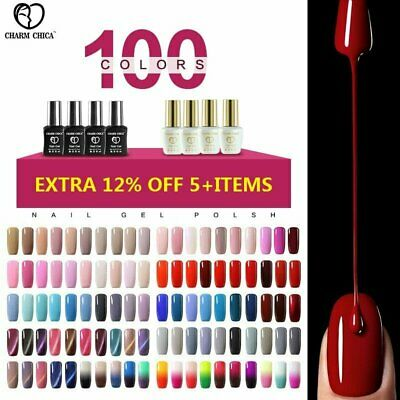 CHARM CHICA Soak Off UV LED Gel Polish Base Top Coat Varnish Lacquer 100 Colors