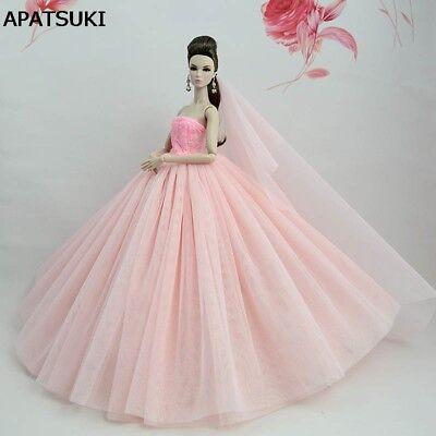Light Pink Doll Dress For 11.5inch Doll Clothes Evening Gown Wedding Dress +Veil