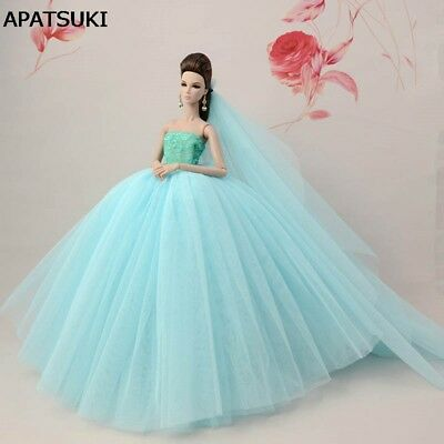 "Light Blue Patchwork Doll Dress For 11.5"" Doll Clothes Long Tail Evening Gown"