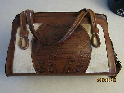 Vintage HAND TOOLED Embossed Leather PURSE 60's 70's HANDBAG Aztec Design Boho
