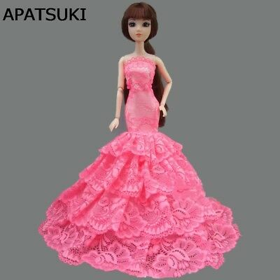 """Pink Lace Doll Dress Costume Elegant Lady Fishtail Dress For 11.5"""" Doll Clothes"""