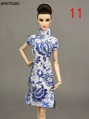 1/6 Blue Handmade Chinese Traditional Dress For 1/6 Doll Clothes Cheongsam Qipao