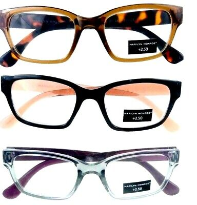 8ea77fa9598a 3 Pack Designer Readers Glasses +2.50 Marilyn Monroe Multi Color Mix Women s