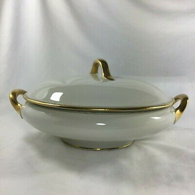 Limoges UC France Covered Serving Bowl in Ivory with Gold and Black Vintage