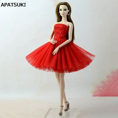 "Red Summer Dress Short Dress For 11.5"" Doll Clothes Outfit 1/6 Doll Accessories"