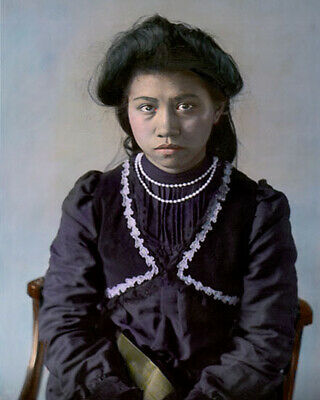 """ROSE HILDERBRAND NATIVE AMERICAN INDIAN 1905 8x10"""" HAND COLOR TINTED PHOTOGRAPH"""