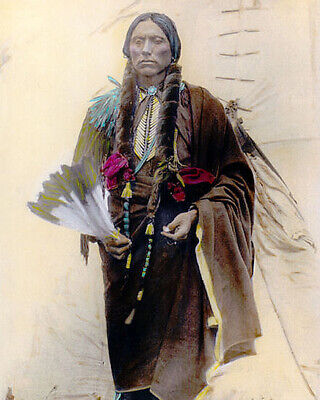 "QUANAH PARKER NATIVE AMERICAN INDIAN COMANCHE 1909 8x10"" HAND COLOR TINTED PHOTO"
