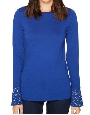 a3fe86c1494527 MICHAEL Michael Kors NEW Blue Womens Size Medium M Embellished Knit Top  78  462
