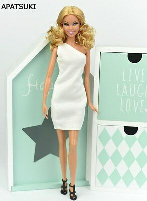 "White One Shoulder Dress For 1/6 Doll Evening Dresses Clothes For 11.5"" Doll Toy"
