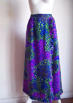 Vintage 70s ALICE California Hippie Electric Floral Flounce Maxi HOSTESS Skirt S