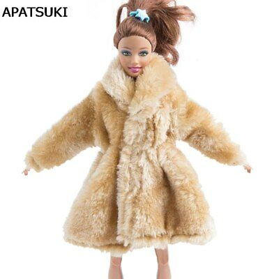 "Cream Color Winter Wear Fur Coat For 11.5"" Dolls Clothes Clothing Doll Dresses"