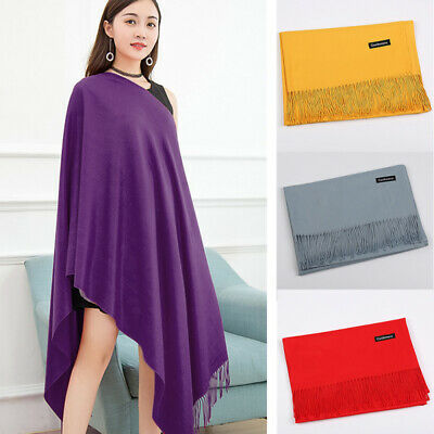 2019Fashion Women Winter Cashmere Blend Pashmina Solid Tassel Shawl Wrap Scarves