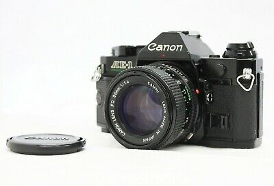 [Exc++++] Canon AE-1 Program SLR Camera Black with New FD 50mm F/1.4 from Japan