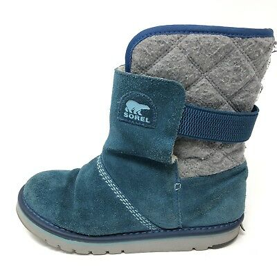 095827fae SOREL THE CAMPUS NEWBIE Girls Teal Blue Winter Boots Size 4 - $26.24    PicClick