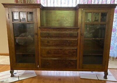 "Vntg Arts & Crafts Style Display Cabinet/Bookcase 4 Drawers 70 1/2""L x 13 1/2""W"