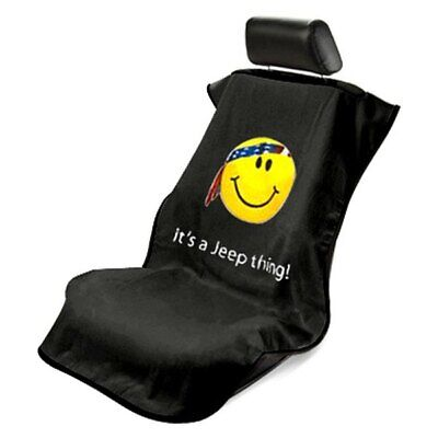 0671987c Seat Armour Front Car Seat Cover For Jeep with Smiley Face - Black Terry  Cloth