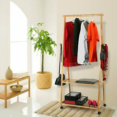 Bamboo Clothes Rail Garment Rack Hanging Stand Coat Wardrobe W/ Wheel Shoe Shelf