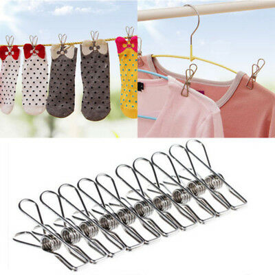 20x Acier Inoxydable Pinces à Linge Blanchisserie Coupe-Vent Suspendu Broches D