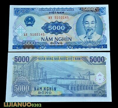 Vietnam  5000 DONG 1991 UNC BANKNOTE CURRENCY WÄHRUNG  ASIEN