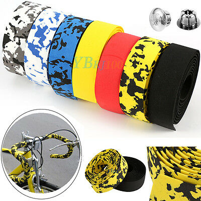 2PCS Road Bike Bicycle Handlebar Cork Bar Grip Ribbon Wrap Tapes + 2 Bars Plugs