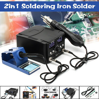 3 IN 1 LCD Soldering Iron Desoldering Rework Solder Station Hot Air Heater  NEW