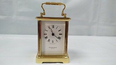 Vintage Taylor & Bligh London Brass Carriage Mantel Lantern Clock Heavy Metal