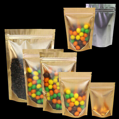 100X Gold Mylar Heat Seal Package Bag Metallic Foil Stand Up Zip Lock Pouches
