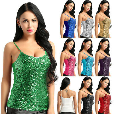 Womens Sequins Sleeveless Tank Vest Tops Summer Camisole Blouse T Shirts Cami