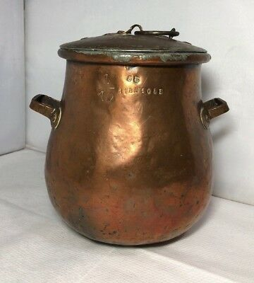 Antique Old Handmade Copper Lidded Cooking Pot Kettle European Tinned
