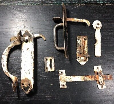 Vintage Lot of Old Iron Door Catches Latches Used Painted