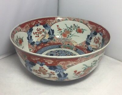 Antique 19th Century Japanese Imari Flower Porcelain Bowl Old Repair