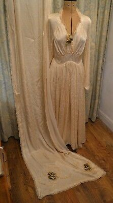 Antique Vintage 1920s Bridal Gown Wedding Dress With Cape Wax Flowers VGC