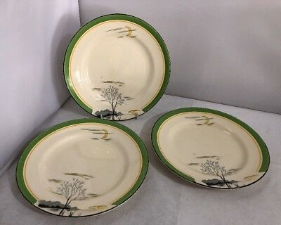 Vintage Burleigh Ware Moonbeams 3x Plate Antique Pottery Art Deco