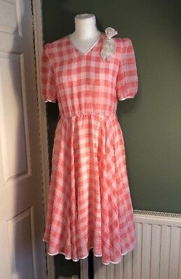 Vintage Pretty 1980s Pink Check Summer Dress 8 10 Small