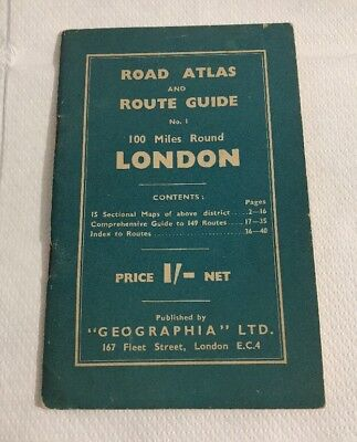 Vintage Geographia London Road Atlas & Route Guide 1930s 1940s No1