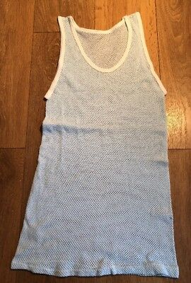 Vintage 1950s 1960s New Old Stock String Type Vest Pale Blue