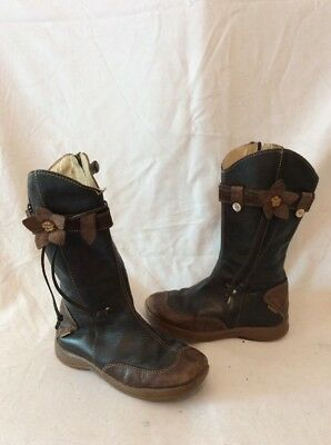 Girls Primigi Brown&Dark Grey Leather Boots Size 28